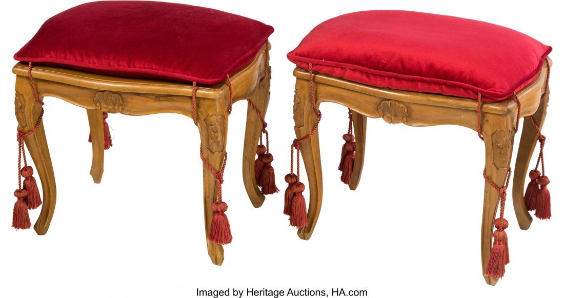 63565: A Pair of Italian Louis XV-Style Caned Benches w