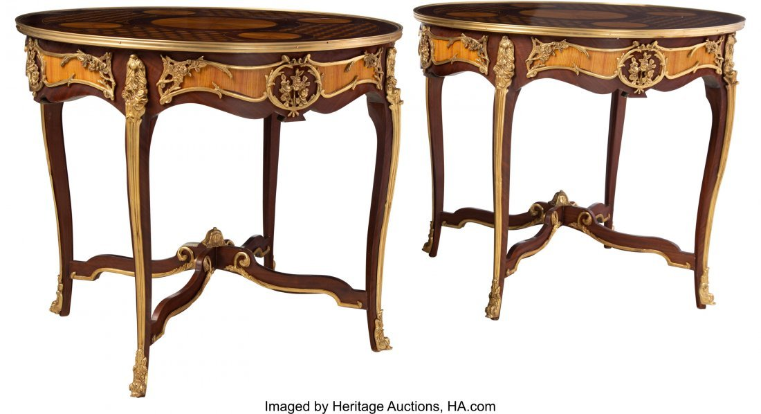 63566: A Pair of French-Inspired Parquetry Inlaid and P