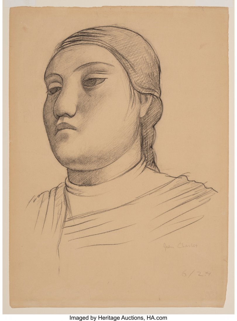 63652: Jean Charlot (French, 1898-1979) Head of a Woman - 3