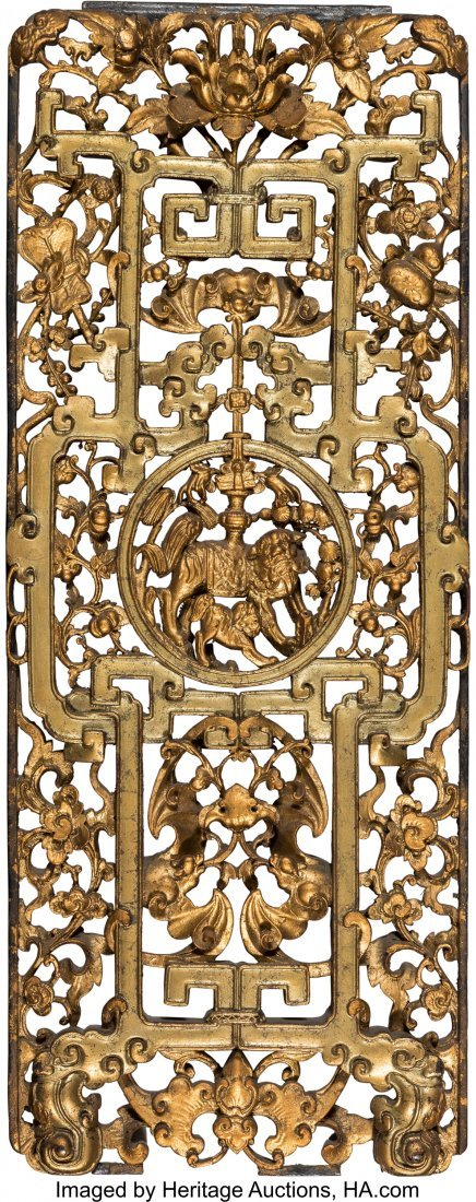 63961: A Chinese Carved and Reticulated Giltwood Panel
