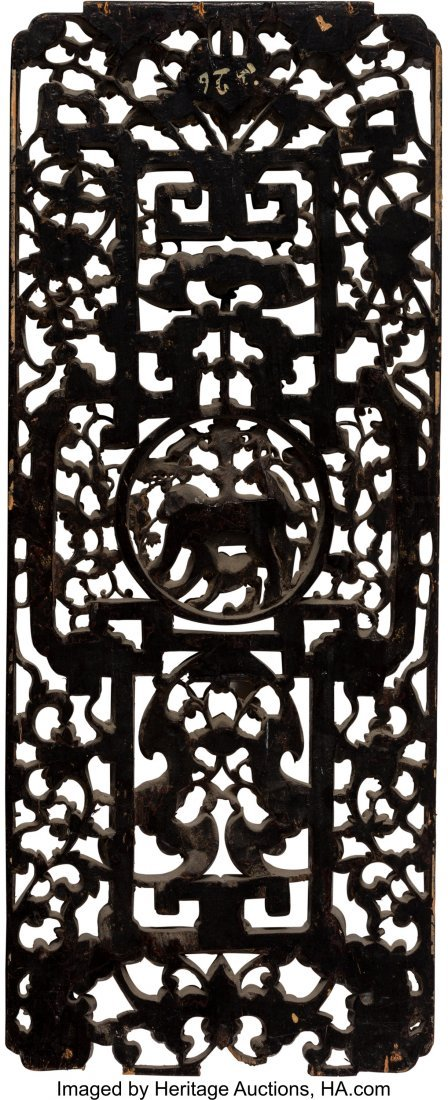 63961: A Chinese Carved and Reticulated Giltwood Panel  - 2