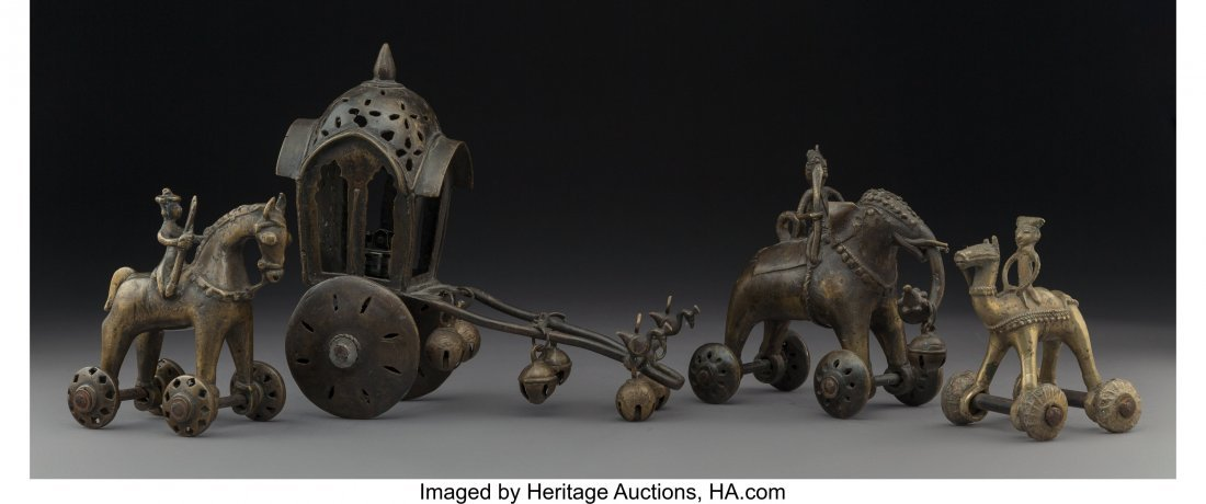 63975: A Group of Four South Asian Bronze Wheeled Figur
