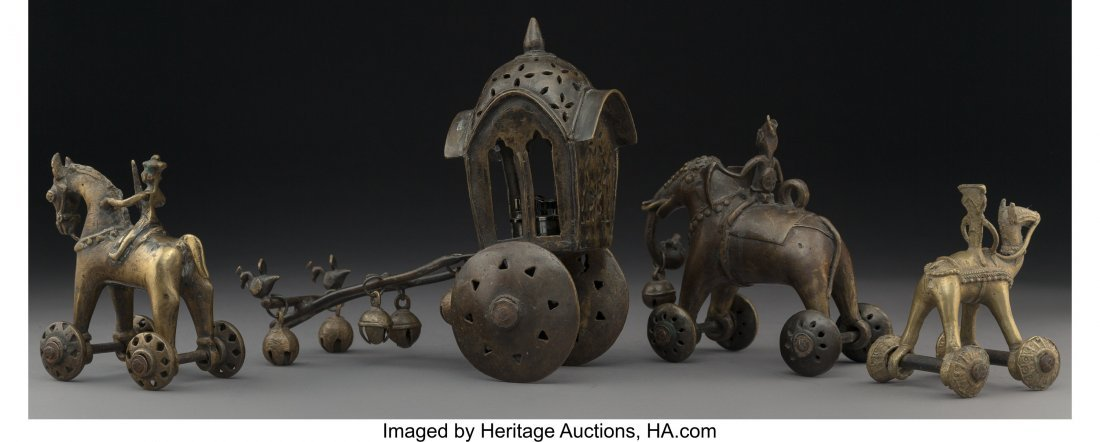 63975: A Group of Four South Asian Bronze Wheeled Figur - 2