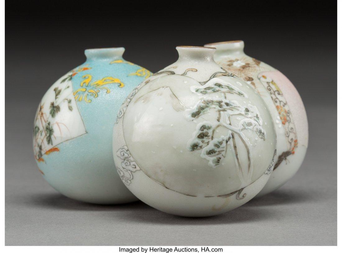 63979: A Japanese Porcelain Triple-Bulb Vase, 20th cent