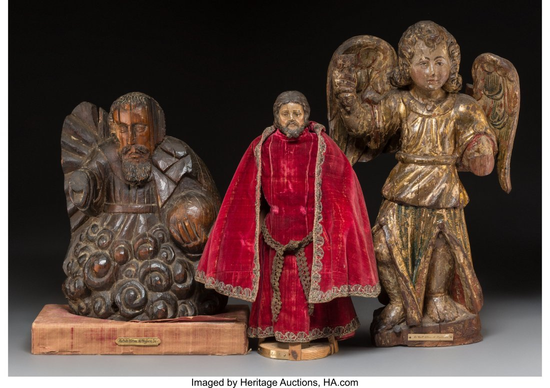 64057: Three Various Spanish Colonial Carved Wood Eccle