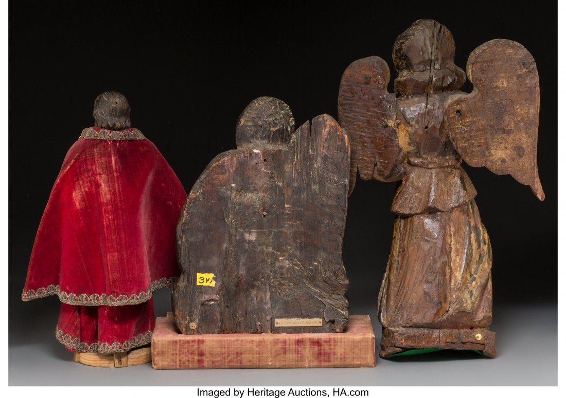 64057: Three Various Spanish Colonial Carved Wood Eccle - 2