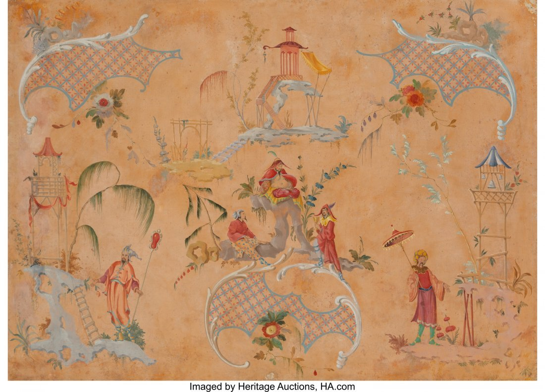 63946: A Large Framed Chinoiserie Painting, late 19th-e