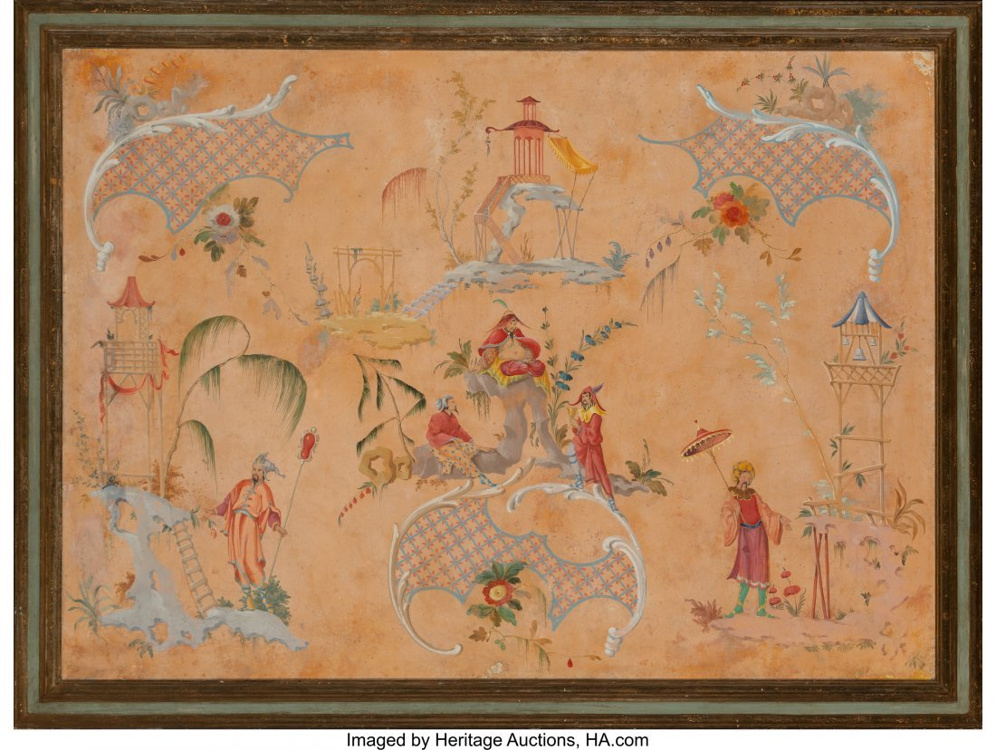 63946: A Large Framed Chinoiserie Painting, late 19th-e - 2