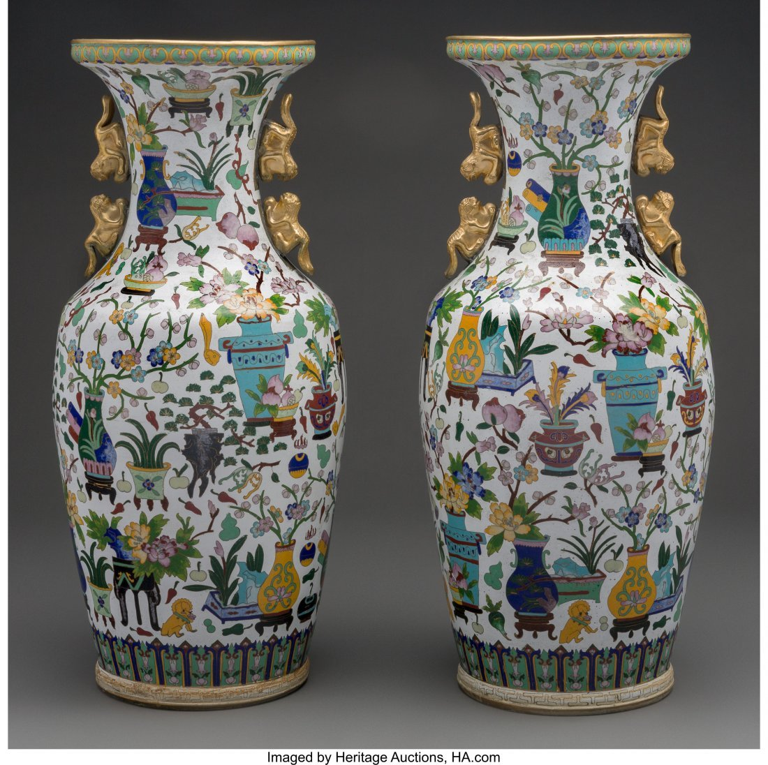 63947: A Pair of Chinese Cloisonné Vases with Figural