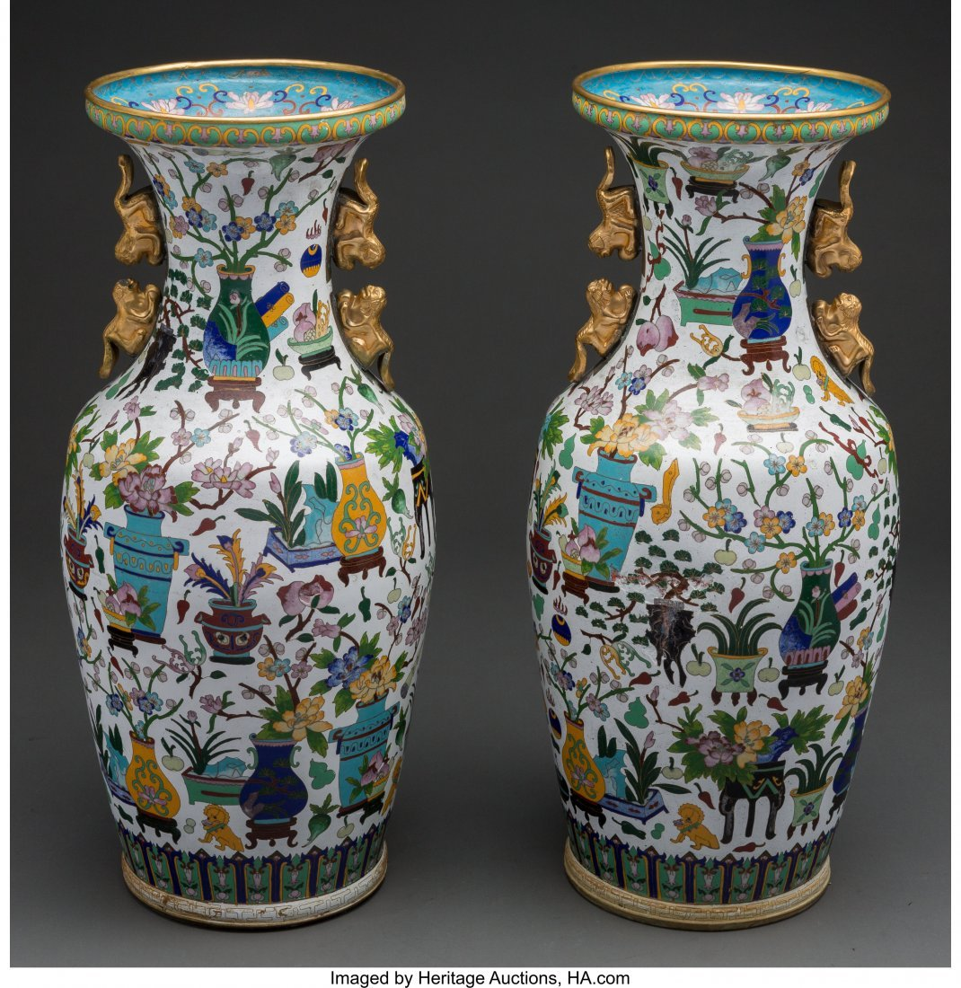 63947: A Pair of Chinese Cloisonné Vases with Figural  - 2