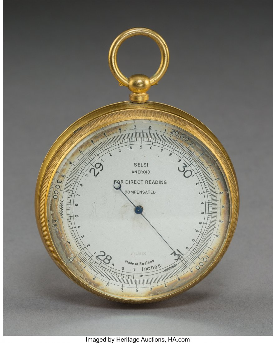 64072: A Selsi Company Inc. Brass Aneroid Barometer wit