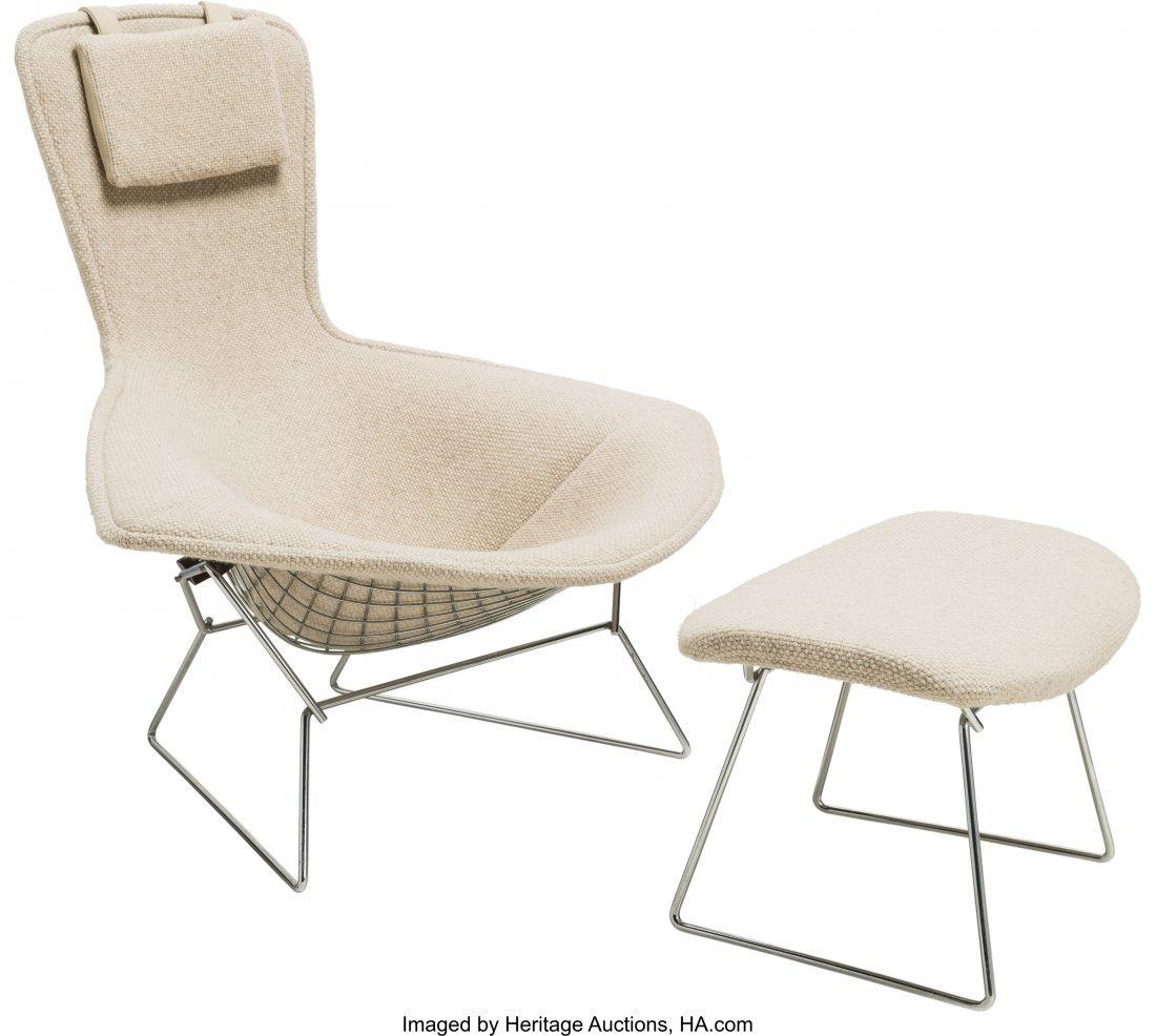 64142: A Harry Bertoia Bird Chair and Ottoman for Knoll