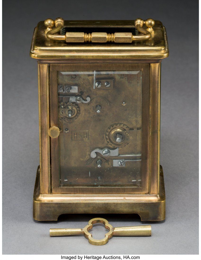 64074: A French Brass and Beveled Glass Carriage Clock  - 2