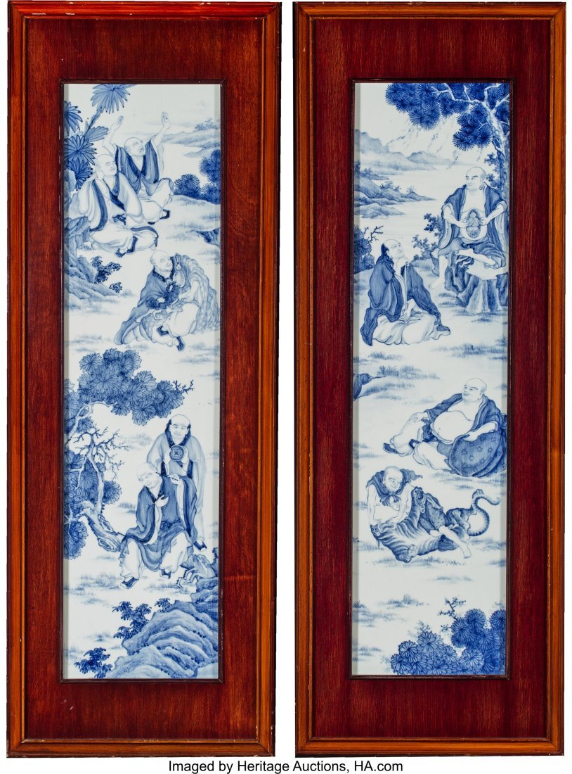 64083: A Pair of Wood Framed Chinoiserie Porcelain Tile