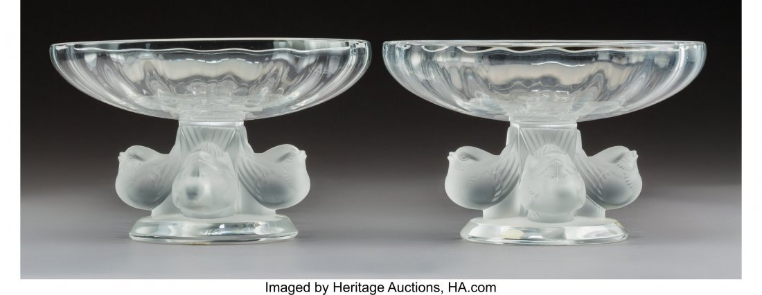 64150: A Pair of Lalique Nogent Pattern Clear and Satin