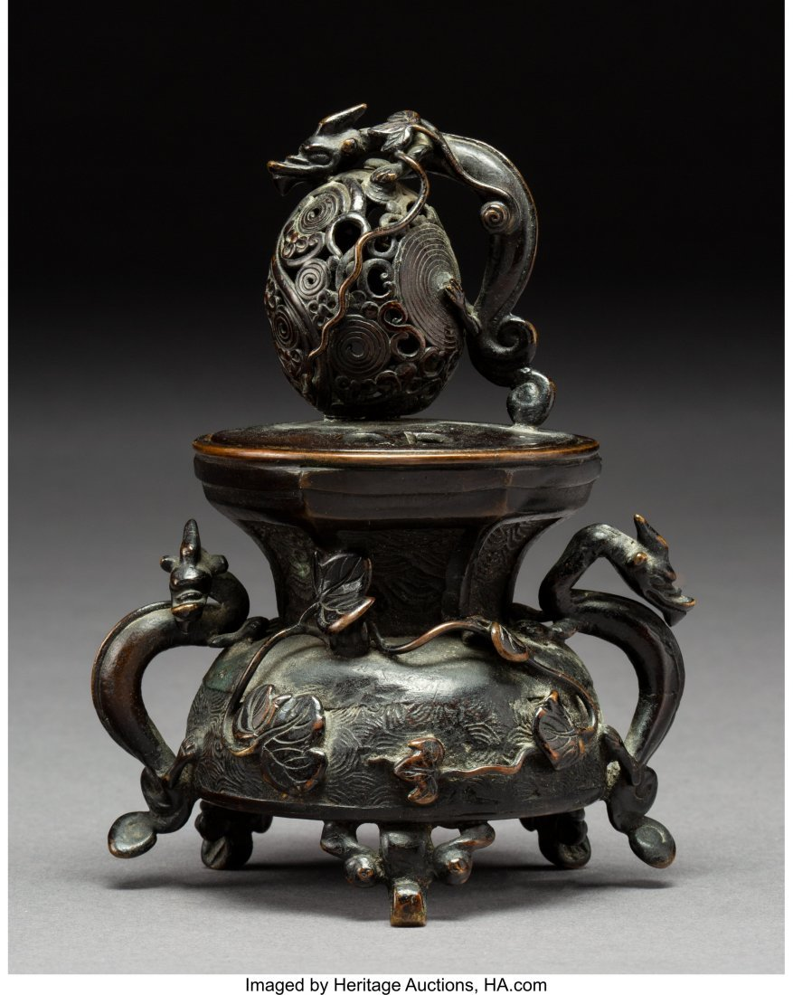 64000: A Chinese Bronze Censer with Dragon and Lotus Mo