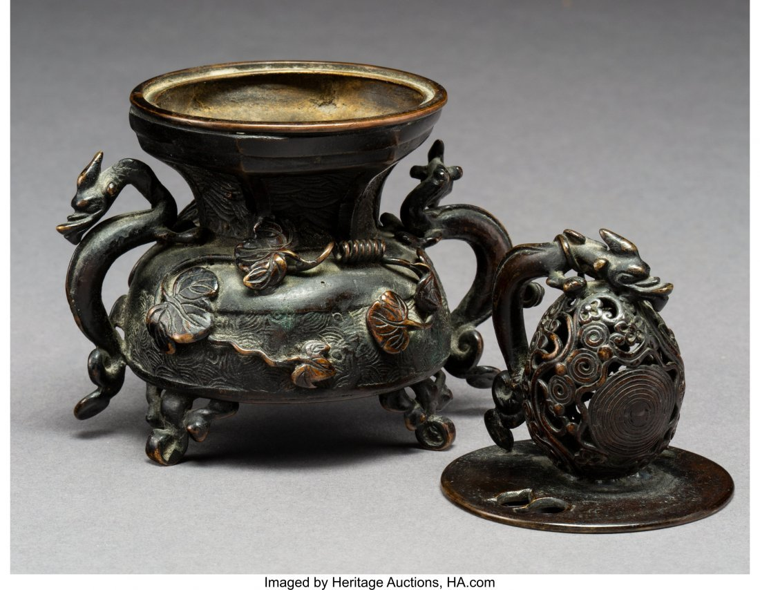 64000: A Chinese Bronze Censer with Dragon and Lotus Mo - 3
