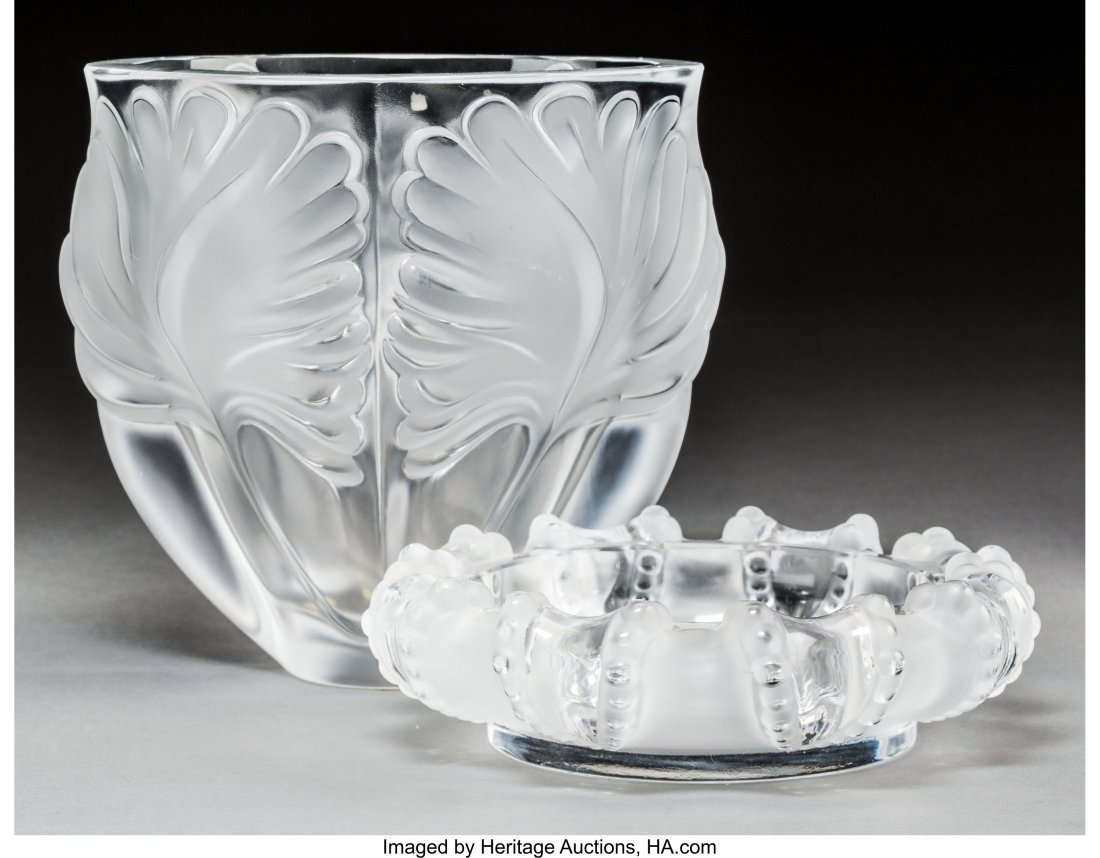 64170: A Lalique Frosted Glass Noailles Vase and Cannes
