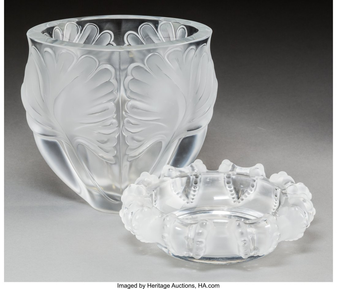 64170: A Lalique Frosted Glass Noailles Vase and Cannes - 2