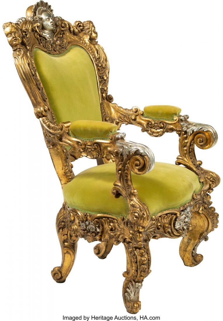 64108: A Large French Baroque-Style Carved, Gilt, and S