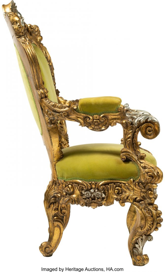 64108: A Large French Baroque-Style Carved, Gilt, and S - 2