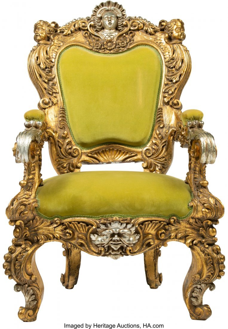 64108: A Large French Baroque-Style Carved, Gilt, and S - 3