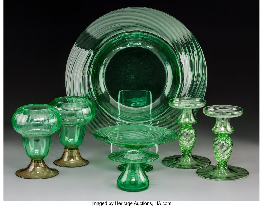 64174: Seven Steuben Green Glass Tableware Items, circa