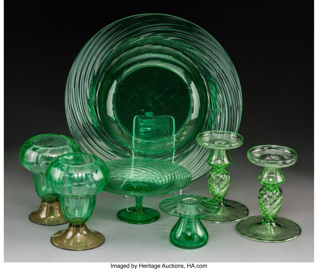 64174: Seven Steuben Green Glass Tableware Items, circa - 2