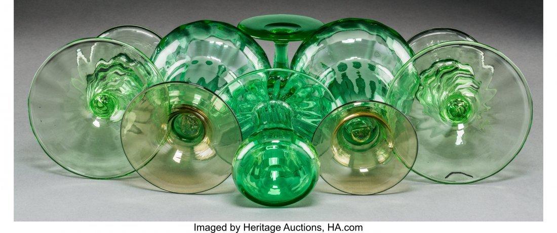 64174: Seven Steuben Green Glass Tableware Items, circa - 3