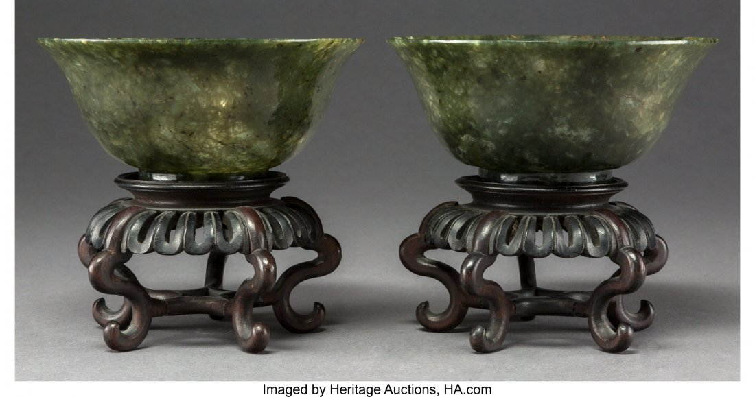 64019: A Pair of Chinese Carved Green Agate Bowls on Ha