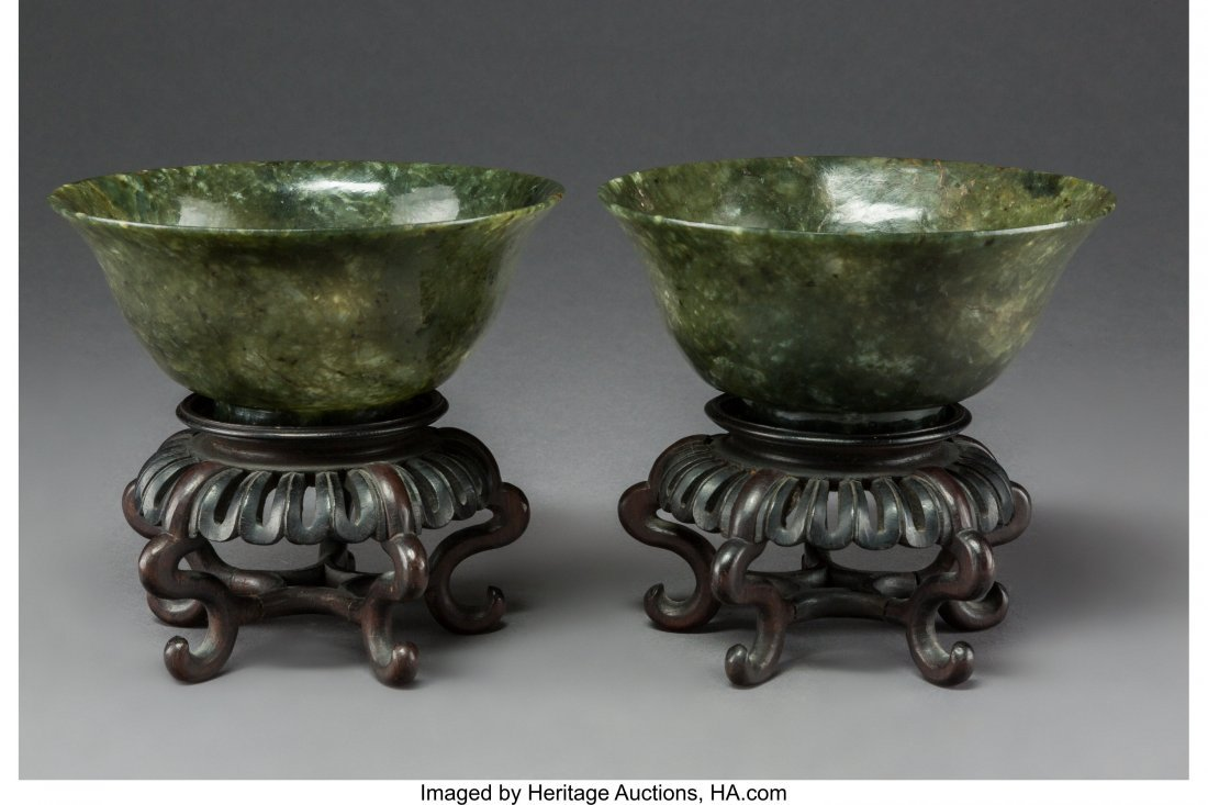64019: A Pair of Chinese Carved Green Agate Bowls on Ha - 2