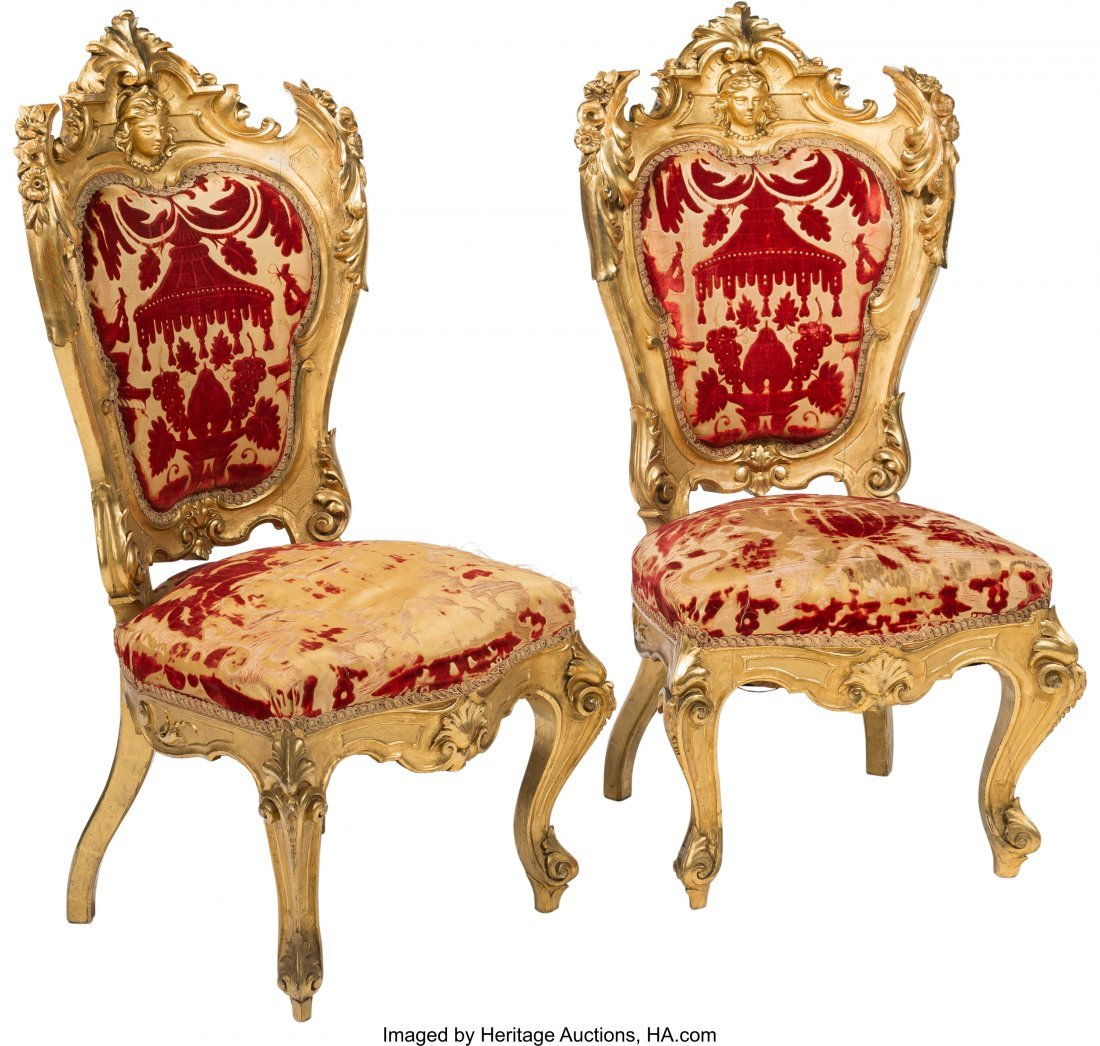 64110: A Pair of Napoleon III Giltwood Chairs with Chin