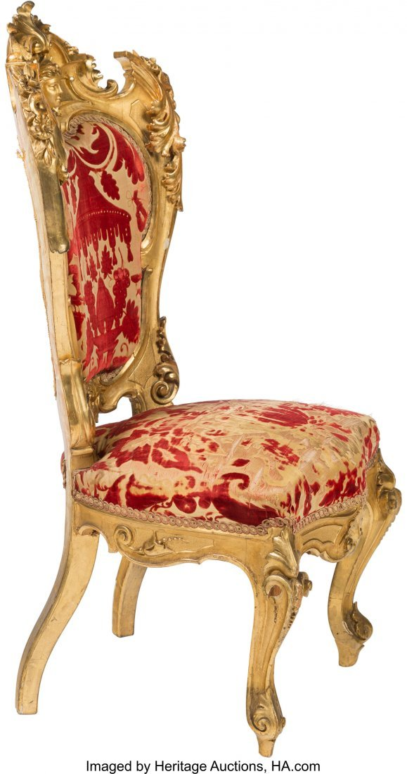 64110: A Pair of Napoleon III Giltwood Chairs with Chin - 2