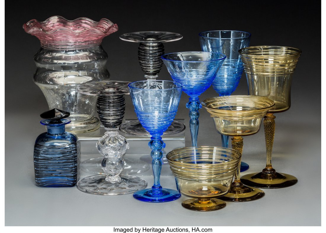 64177: Ten Steuben Threaded Glass Articles, 20th centur