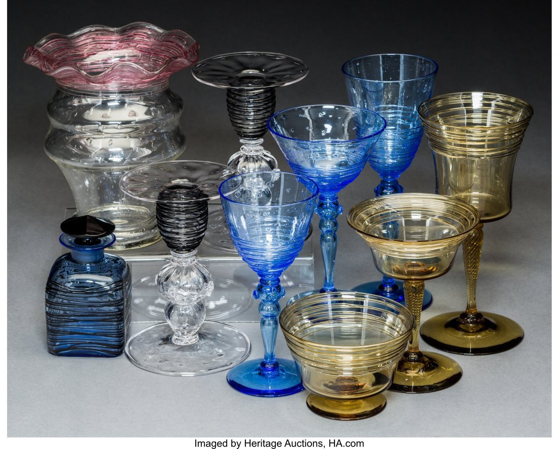 64177: Ten Steuben Threaded Glass Articles, 20th centur - 2