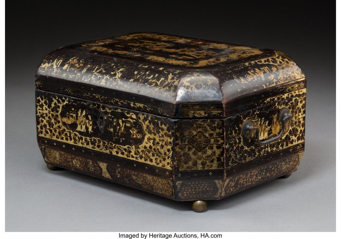 64021: A Chinese Export Lacquered and Gilt Decorated Te