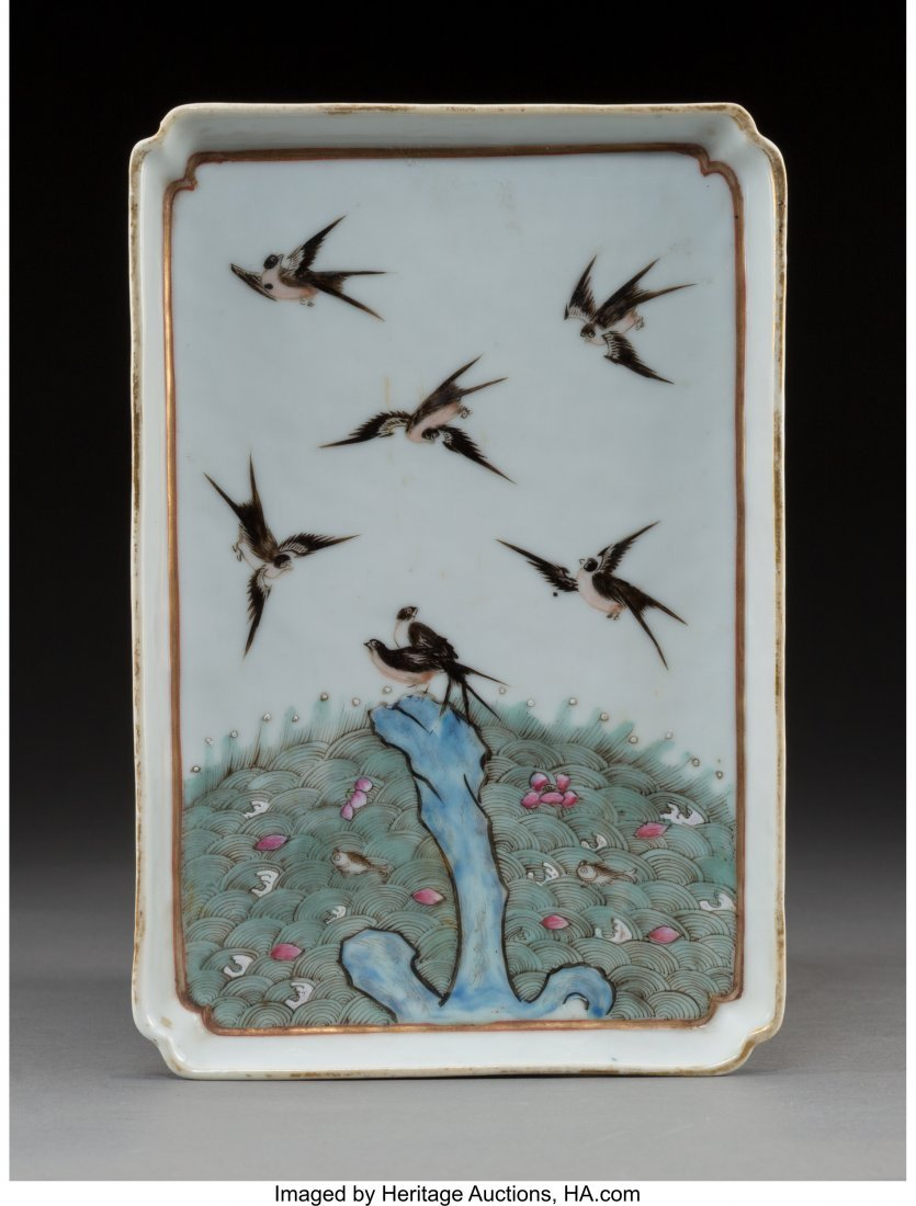64022: A Chinese Porcelain Terns Tray 8-3/8 x 5-5/8 x 5