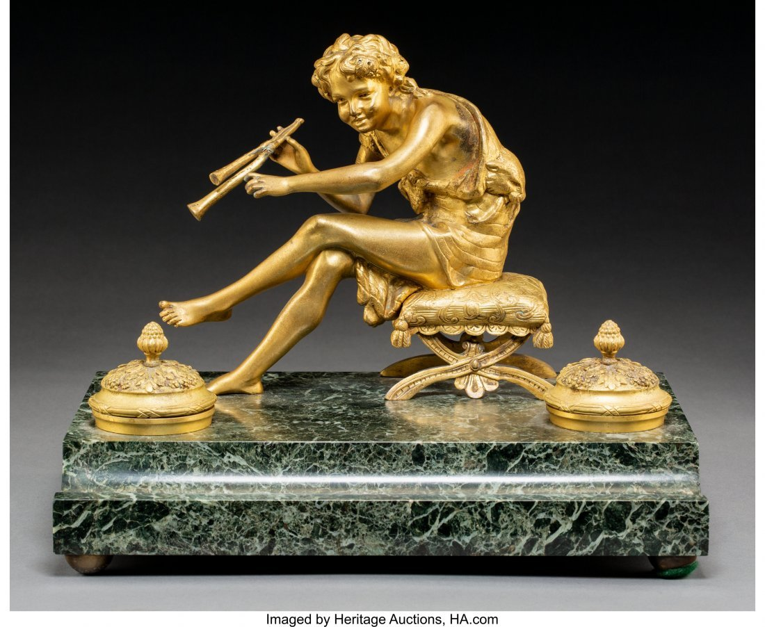 64030: An Empire-Style Gilt Bronze and Marble Encrier,