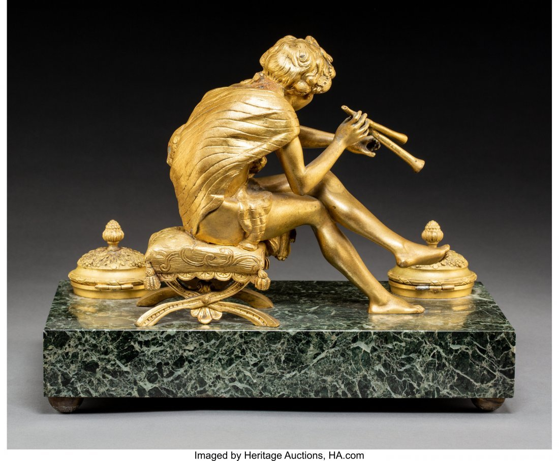 64030: An Empire-Style Gilt Bronze and Marble Encrier,  - 2