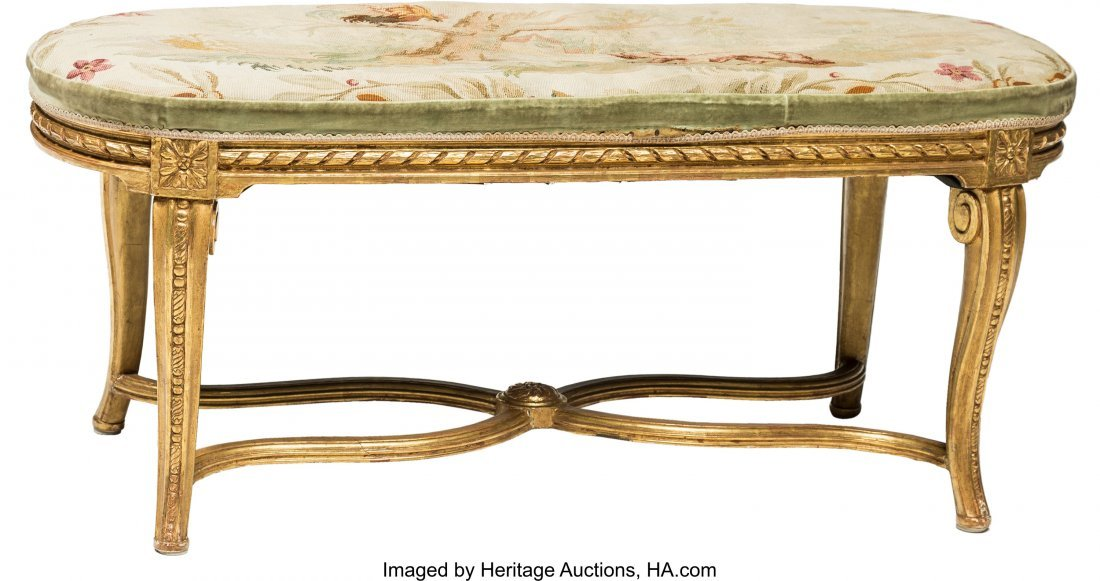 64126: A French-Style Carved Giltwood and Tapestry Upho