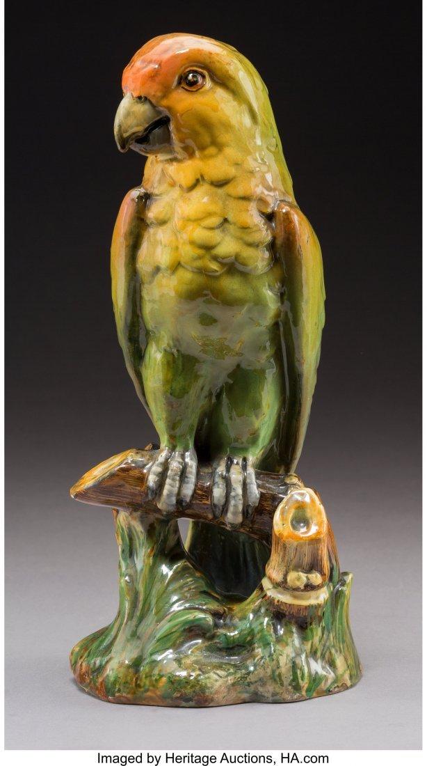 64192: A Jérôme Massier Majolica Parrot Sculpture, Va
