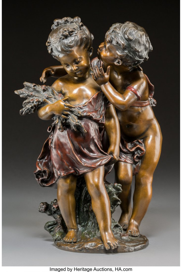 64032: A Cold-Painted Bronze Figural Group After August