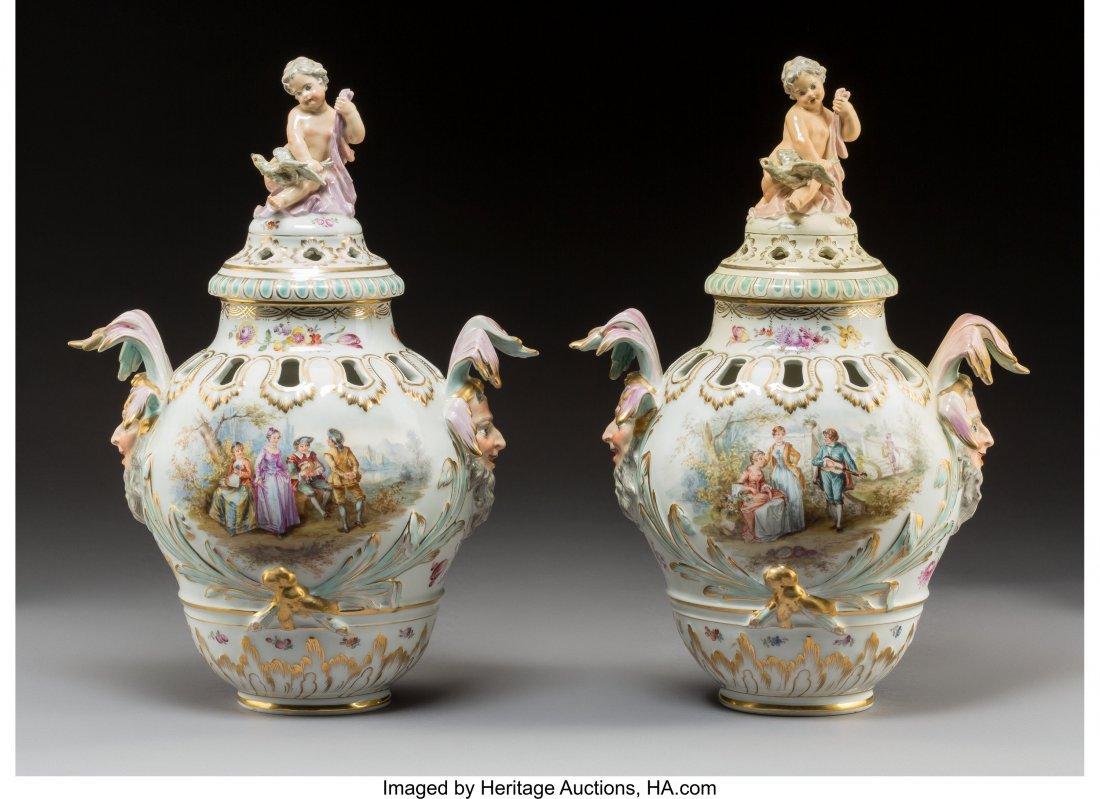 64193: A Pair of KPM-Style Porcelain Potpourri Urns wit