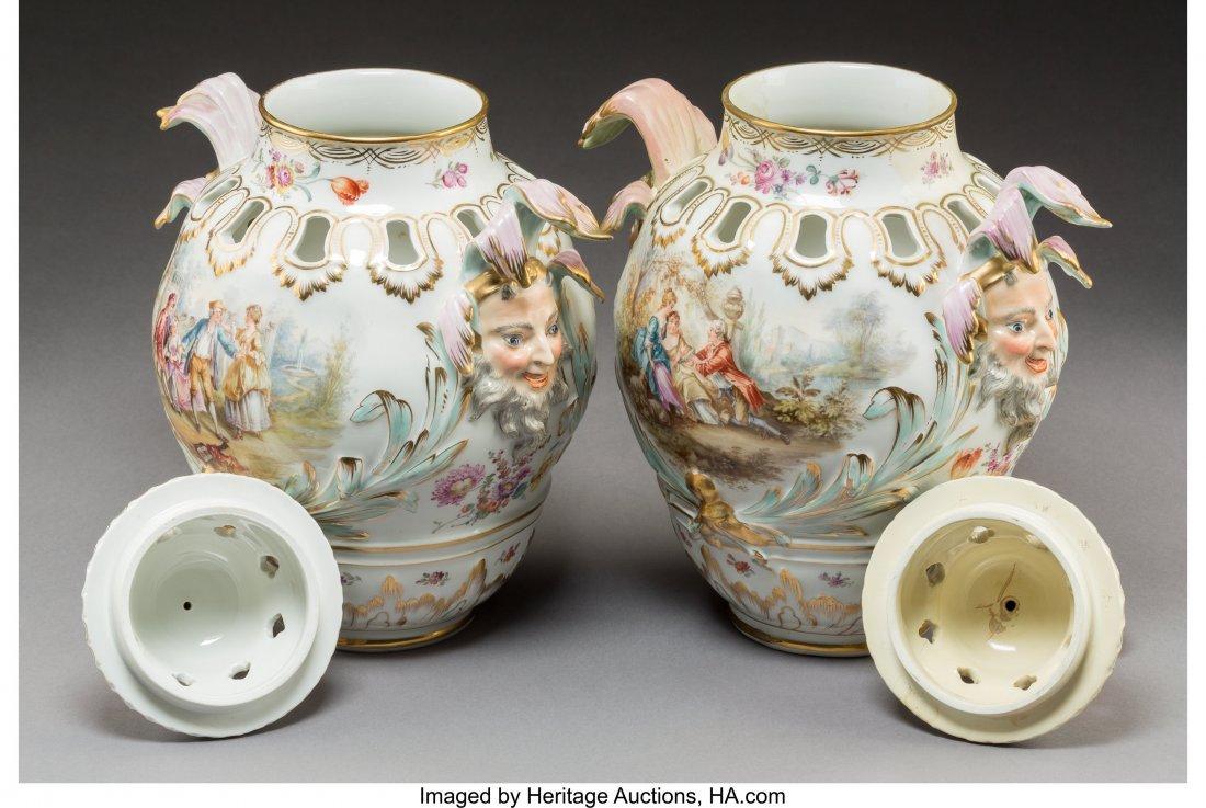 64193: A Pair of KPM-Style Porcelain Potpourri Urns wit - 2