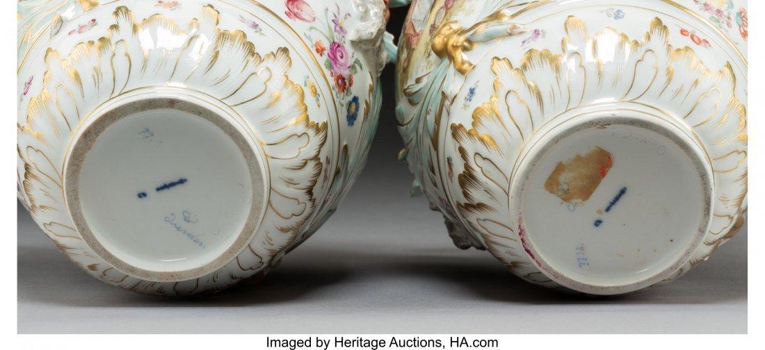 64193: A Pair of KPM-Style Porcelain Potpourri Urns wit - 3