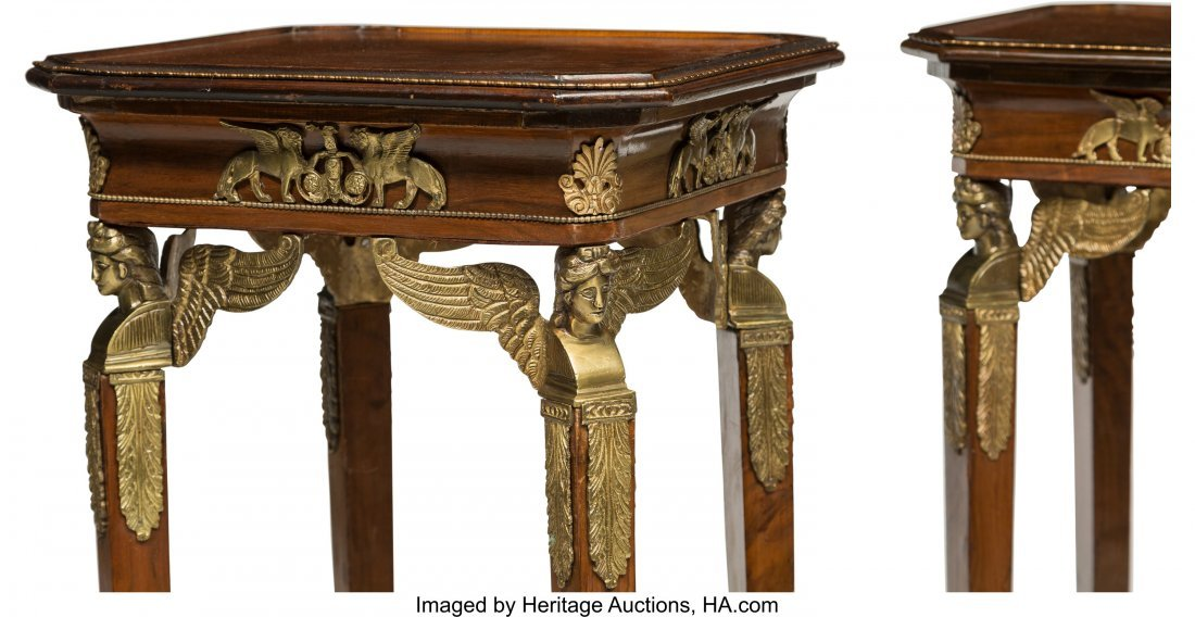 64128: A Pair of Empire-Style Mahogany and Bronze Mount - 3