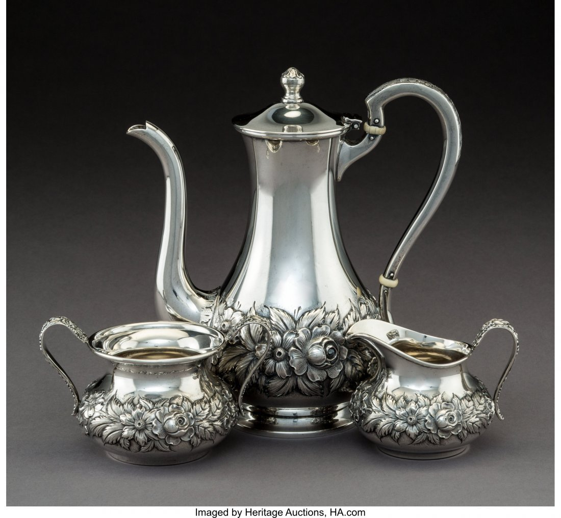 64280: A Three-Piece S. Kirk & Son Silver Coffee Servic