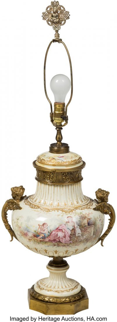 64198: A French Gilt Bronze-Mounted Porcelain Lamp Base