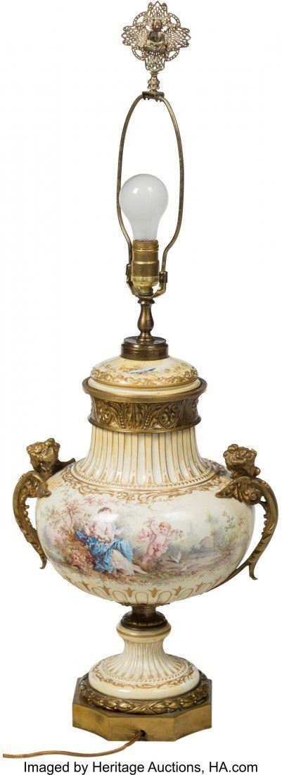 64198: A French Gilt Bronze-Mounted Porcelain Lamp Base - 2