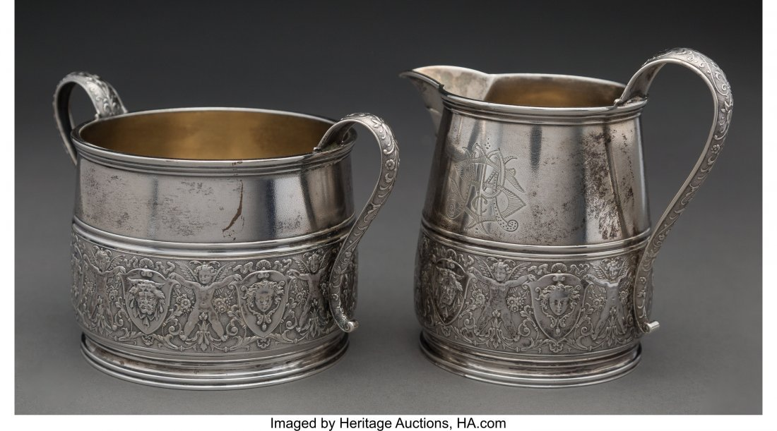 64282: A Starr & Marcus Parcel-Gilt Silver Creamer and  - 2